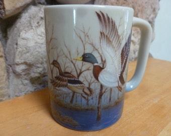 Vtg Otagiri Mallard Ducks in Flight mug