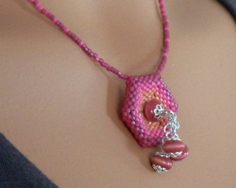 Pink Beaded Hexagon Pendant Necklace