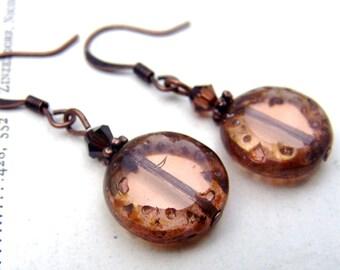 1920's Art Nouveau Earrings Art Deco Earrings Pink Peach Dangle Earrings Estate Style Jewelry Old Hollywood