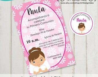 Invitacion primera comunion niño imprimible Inviti prima comunione First communion invitation Spanish English or Italian digital file