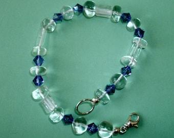 Gemstone Jewelry Bracelet - Crystal Quartz and Swarovski Crystal Gemstone Beaded Bracelet