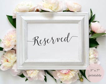 Reserved Sign Printable Template - Instant Download - DIY Reserved Sign - Editable PDF - Wedding Sign - 5x7 inches - GD0718