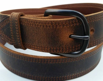 """1-1/2"""" Double Stitched Full Grain Water Buffalo Leather Belt"""