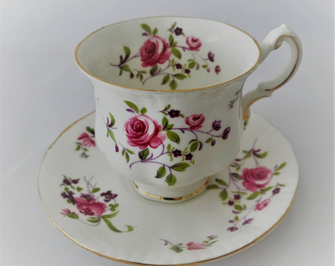 Paragon Elizabeth Rose-cup and saucer-Fine Bone China made in England.