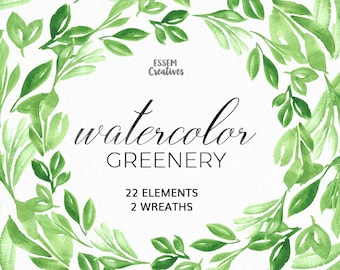 Watercolor Leaves Clipart, Leaf Wreath, Green Branch, Eucalyptus Leaves Clipart, garden wedding invitation, Rustic clipart, greenery clipart