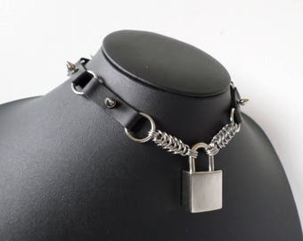 Studded PU Leather Padlock Choker with Chain Details - Discrete Locking Gothic Day Collar