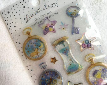 Kawaii Japan Sticker Sheet Assort Epoxy Glitter Drop Lunar Tears: CELESTIAL HOURGLASS Time Mystery Cosmic Stars Night Sandman Z