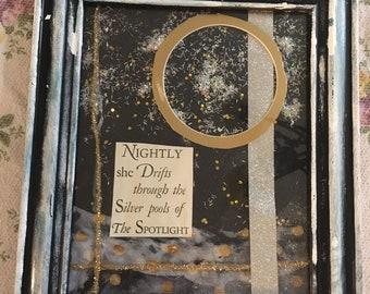 Silvery Winter Night art: mixed media, framed