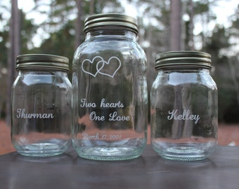 3 Piece Personalized Mason Jar Sand Ceremony set, Wedding Ceremony,  Two hearts One Love