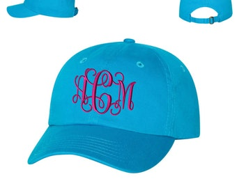Ladies Monogrammed Baseball Hat - Embroidered.  Monogrammed Baseball Cap. Personalized Baseball Hat Adjustable With Tri-Glide Buckle. VC300A