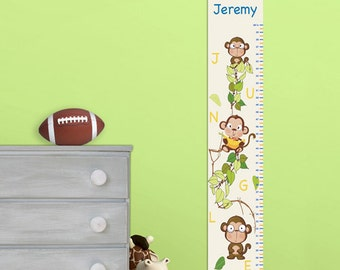 Personalized Boys Growth / Height Chart - Monkeys