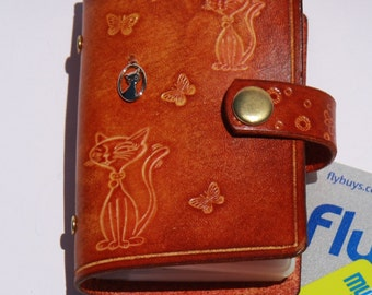 Leather card wallet / leather Card holder / leather credit card organizer / handmade card  case / embossing / cats and butterfly evicraft