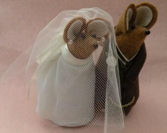 Herr und Frau Maus Hochzeitspaar Kuchen Topper Dekoration weiche Skulptur