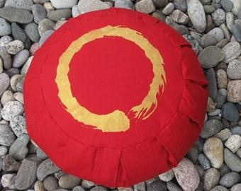 Zafu Meditation Cushion Pillow Enso red