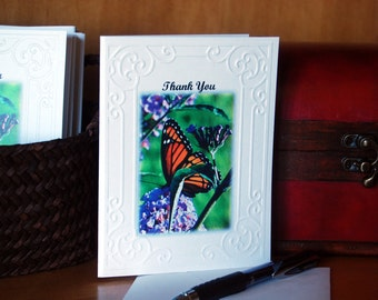 Butterfly Cards. Thank You Monarch Butterfly Embossed Photo Cards
