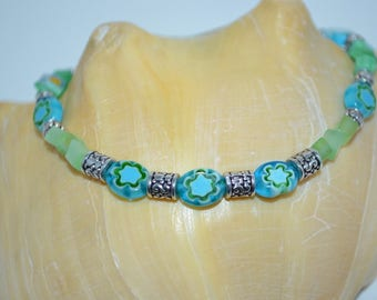 Ankle Bracelet Glass Chips & Flower Beads, Green and Blue Glass Chip Anklet, 1 of a kind Beaded Anklet, Sea Glass Anklet, Flower Bead Anklet