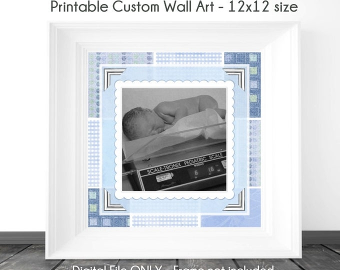 Custom Digital Wall Art, New Baby Printable Wall Art, Nursery Wall Art, Custom Digital Scrapbook Page, YOU PRINT, 12x12