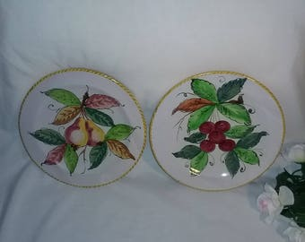 Vintage Italy pottery fruit plates, Pear and cherry Italian plates. salad fruit plates
