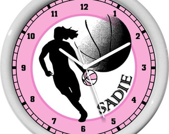 Girls Basketball Personalized Color Coices Girls Room Decore Wall Clock
