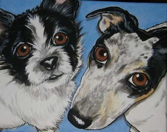 Multiple Pet Portrait Painting 11x14 - custom hand painted dog cat , pet lover, pet memorial, gift
