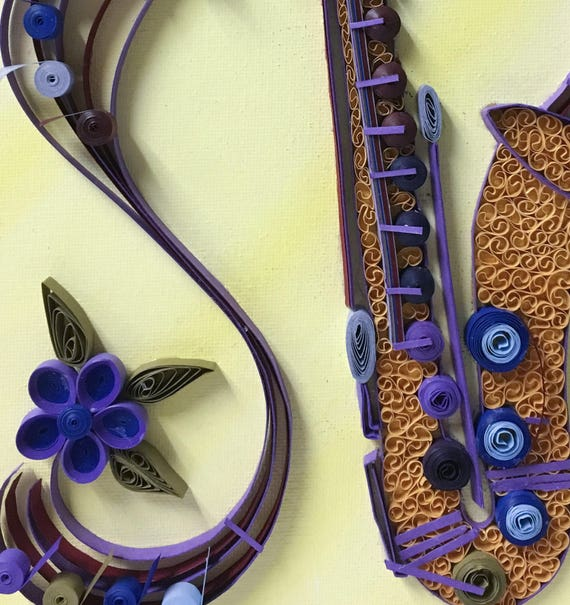 Customized quilled saxophone wall art musician art musical