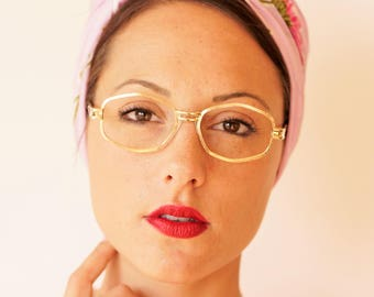 Vintage Eyeglass 1970s Octagon Shape Frames New Old Stock Glasses Gold Toned 48-18 Retro