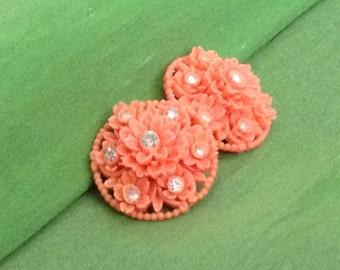 Vintage Retro Orange Flowers Earrings