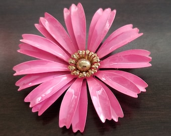 Vintage Large Bright Fuchsia Pink Multi Petal Enamel Flower Brooch Pin with gold center