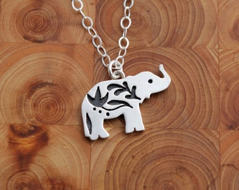 Tiny Elephant Pendant with Indian Flower Design - Sterling Silver Charm Necklace - Everyday Boho Necklace - Artisan Jewelry