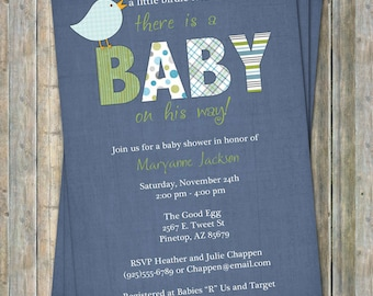 baby boy shower invitation with bird, blue background, digital, printable file