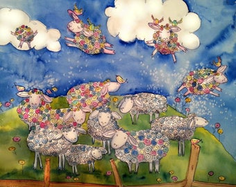 """Sheep Dreams Giclee Print on Acid Free Watercolor Paper 8"""" x 9"""" Ships Free!"""