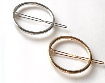 Circle hair clip silver hair pin gold hair clip round hair barrette geometric hair accessory silver hair clip women gold hair clip circle