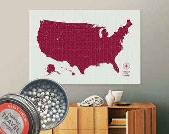 Vintage Push Pin USA Map (Berry) Travel Map Push Pin Map Gift Road Trip Map of the USA on Canvas Personalized Gift For Family Name Sign