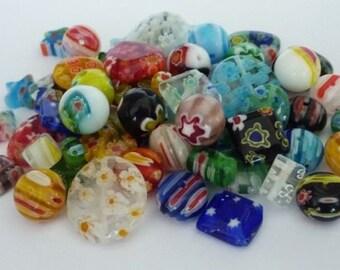 80 pce Millefiori Glass Beads Mix Size, Shape & Colours 4mm - 16mm