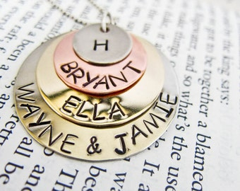 Hand Stamped Name Necklace with up to SEVEN Names - Four Mixed Metal Discs and Chain for Mom, Grandma