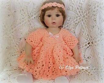 """Crochet Doll Dress Pattern, 18-20"""" Doll Dress Crochet Pattern, Doll Outfit, Crochet for Dolls Dress Pattern"""