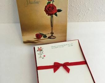 Vintage Stationery Set, Rose Shadow, vintage floral stationery, vintage letter paper, note cards, envelopes