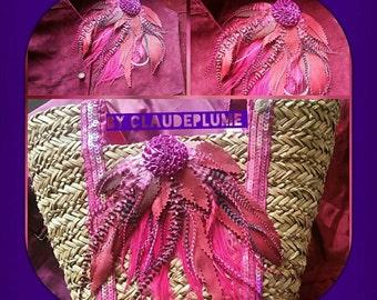 Leather-feathers fuchsia rhinestone application