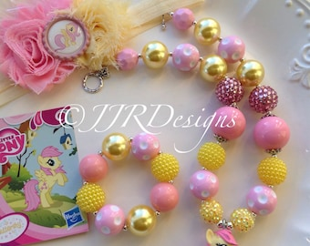 Ready to ship! My Little Pony Inspired Girl Necklace- Fluttershy-Chunky-Bubble Gum Necklace- Fluttershy Necklace