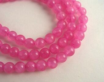 30 pink wild rose jade 6mm beads