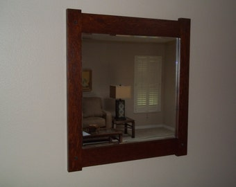 "Quartersawn White Oak Mirror Arts and Crafts Mission Craftsmen Style overall 19"" X 21"" Handcrafted/Handmade"