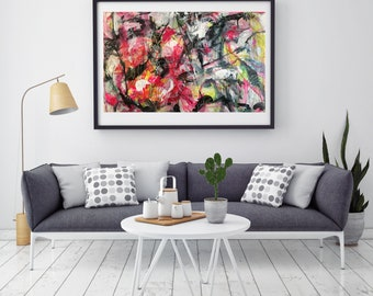 Large Modern Art Abstract Painting on Paper Wall Art Decor Contemporary Painting Abstract Expressionist  Mixed Media Pink Red Black White