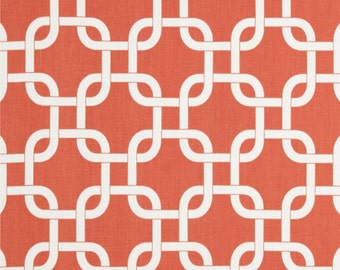 Coral Fabric by the YARD Geometric Home Decor Upholstery Curtain Pillow Runner Gotcha coral white chain link Premier Prints  SHIPsFAST