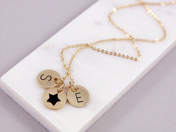 Symbolic Necklace Two Letter Necklace Friendship Necklace