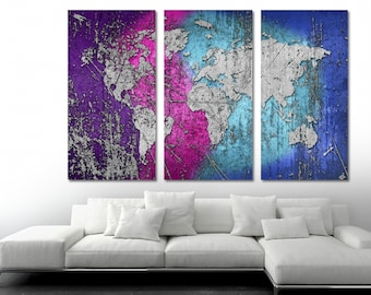World map triptych etsy mixed wave color silver world map canvas print 3 panel split triptych gumiabroncs Images