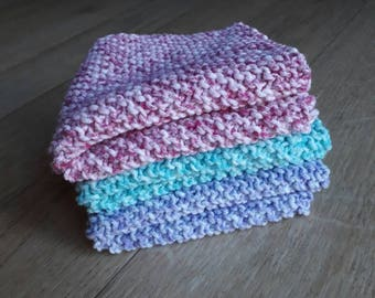 3 x Hand Knitted Wash Cloths