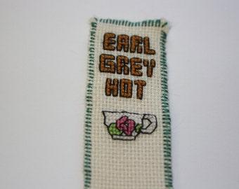 Earl grey tea geeky cross stitch bookmark
