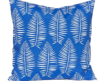 Outdoor Cushions - Outdoor Pillow Covers - Royal Blue Pillow Covers - Palm Leaf - Bright -  Patio Decor - Pool Decoration - Spring Decor