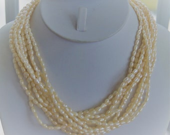 """Freshwater Pearl Multi-strand Necklace, 14K Clasp, Vintage, 17"""" (TB301)"""