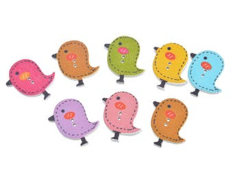 5 wooden buttons shaped bird chick - multicolored - 2 holes 26x23mm - Easter